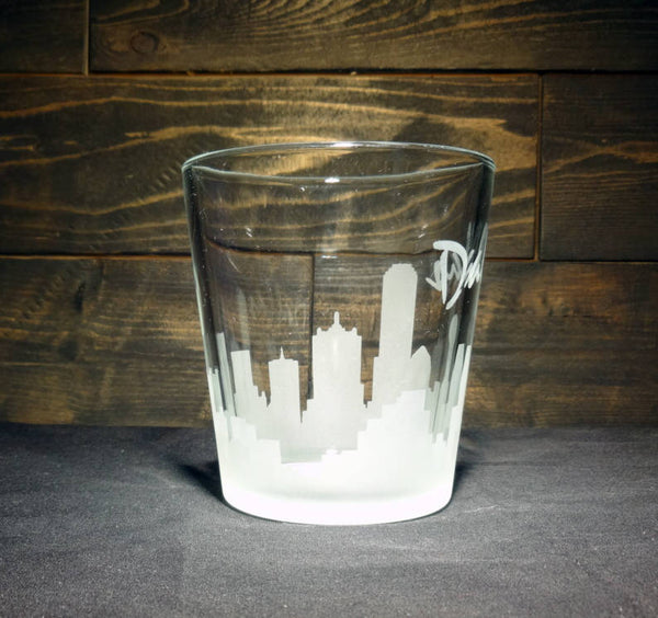Dallas Skyline Whiskey Glass, Etched Rocks Glass, Double Old Fashioned