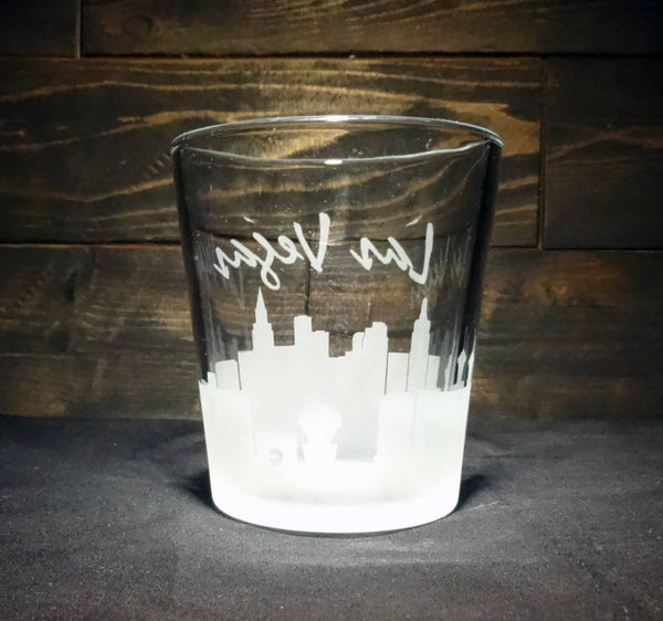 Las Vegas Skyline Whiskey Glass, Etched Rocks Glass, Double Old Fashioned, Set of 2