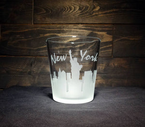 New York City Skyline Whiskey Glass, Etched Rocks Glass, Double Old Fashioned