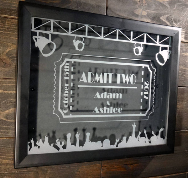 "Personalized Concert Tickets Shadow Box, Etched Glass Ticket Collection, 8""x10"""