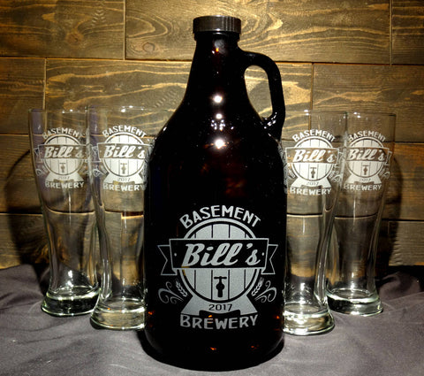 Custom Beer Growler and Pilsner Glass Set, Personalized Beer Barrel Design, Etched Glass