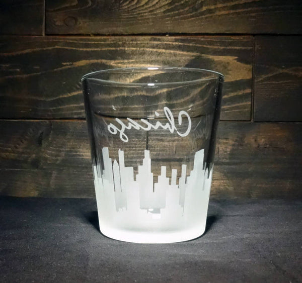 Chicago Skyline Whiskey Glass, Etched Rocks Glass, Double Old Fashioned, Set of 2