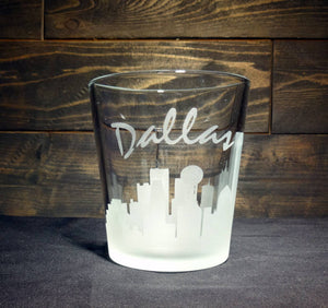 Dallas Skyline Whiskey Glass, Etched Rocks Glass, Double Old Fashioned, Set of 4
