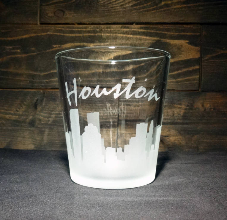Houston Skyline Etched Rocks Glass, Double Old Fashioned, Set of 4