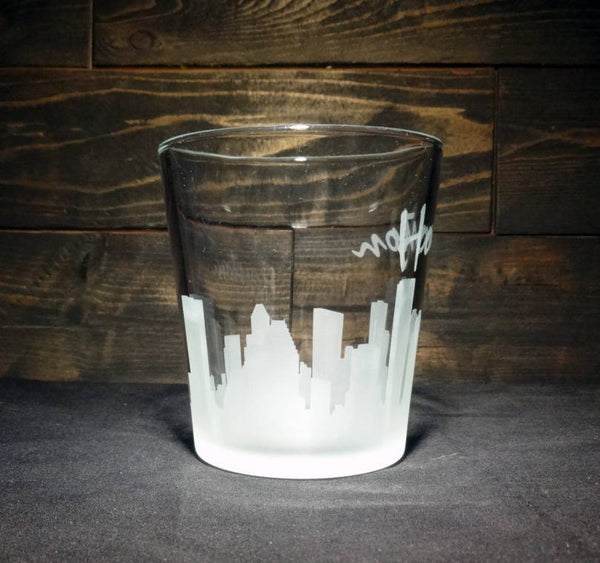 Houston Skyline Etched Rocks Glass, Double Old Fashioned, Set of 2