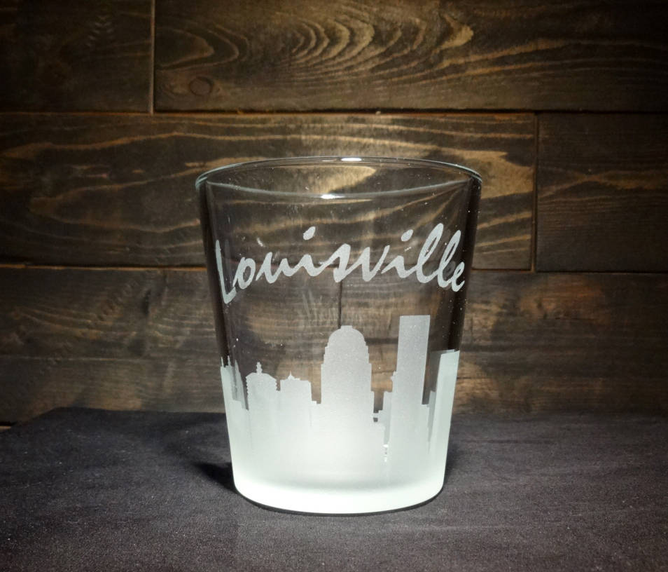 Louisville Skyline Whiskey Glass, Etched Rocks Glass, Double Old Fashioned, Set of 2