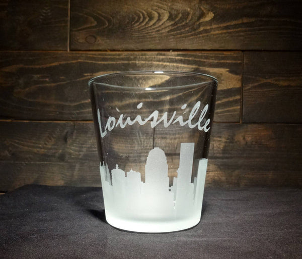 Louisville Skyline Whiskey Glass, Etched Rocks Glass, Double Old Fashioned