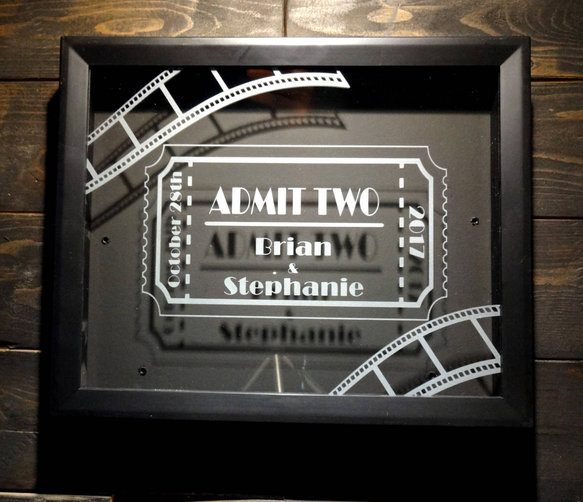 "Personalized Tickets Shadow Box, 8"" x 10"" Etched Glass Movies Ticket Collection"