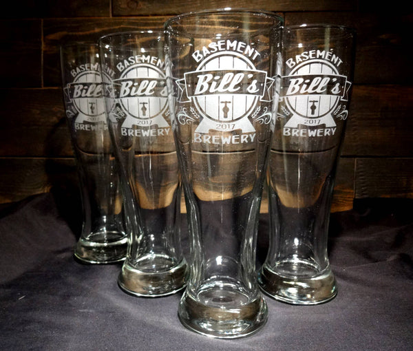 Custom Pilsner Glasses with Beer Barrel Design, Etched Glasses, Set of 4