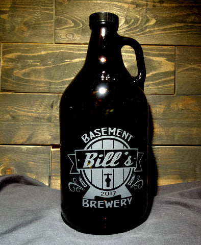 Custom Beer Growler with Personalized Beer Barrel Design, 64oz