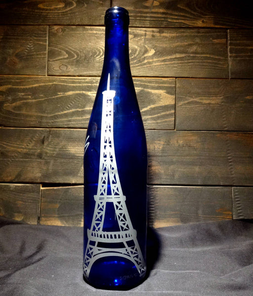 Blue Recycled Wine Bottle Vase, Eiffel Tower Paris Silver Inlay