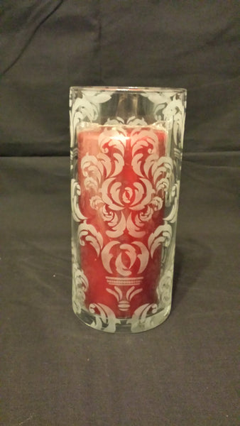 Etched Glass Vase, Damask Pattern