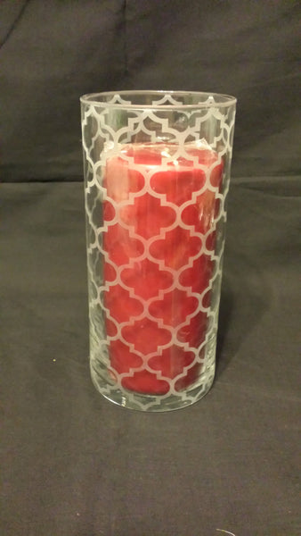 Etched Glass Vase, Morroccan Pattern