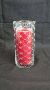 Etched Cross and Star Pattern Glass Vase