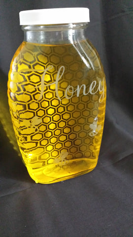 Glass Honey, Etched Two Sided Honeycomb Design