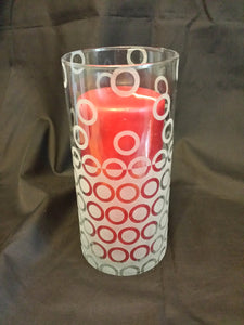Etched Reversing Circle Design Glass Vase