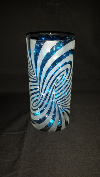Illusion Etched Glass Vase, Twisted Pillar
