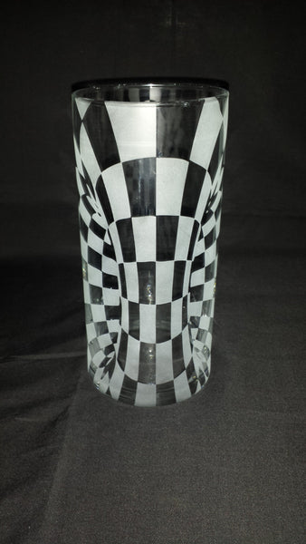 Illusion Etched Glass Vase, Checkered Pillar