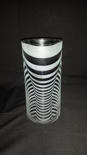 Illusion Etched Glass Vase, 3D Tube