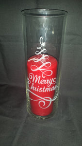 Merry Christmas Etched Glass Vase