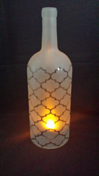 Recycled Wine Bottle Candle Shade, Etched Moroccan Pattern