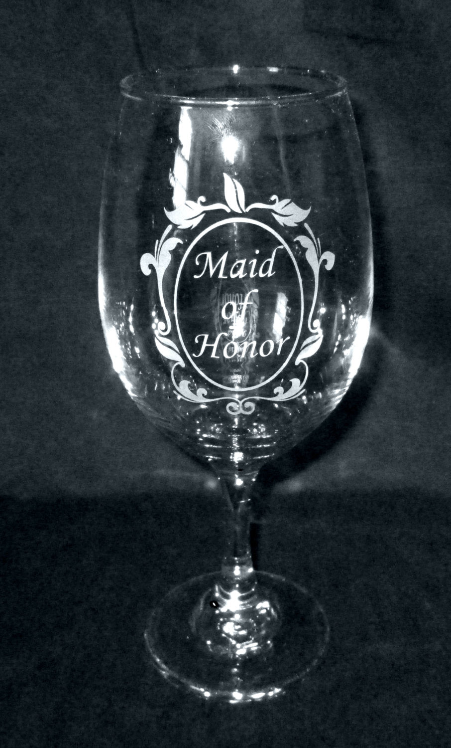 Personalized Etched Maid of Honor Wine Glass