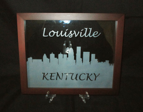 "City Skyline Etched Glass Decorative Frame, 8""x10"""