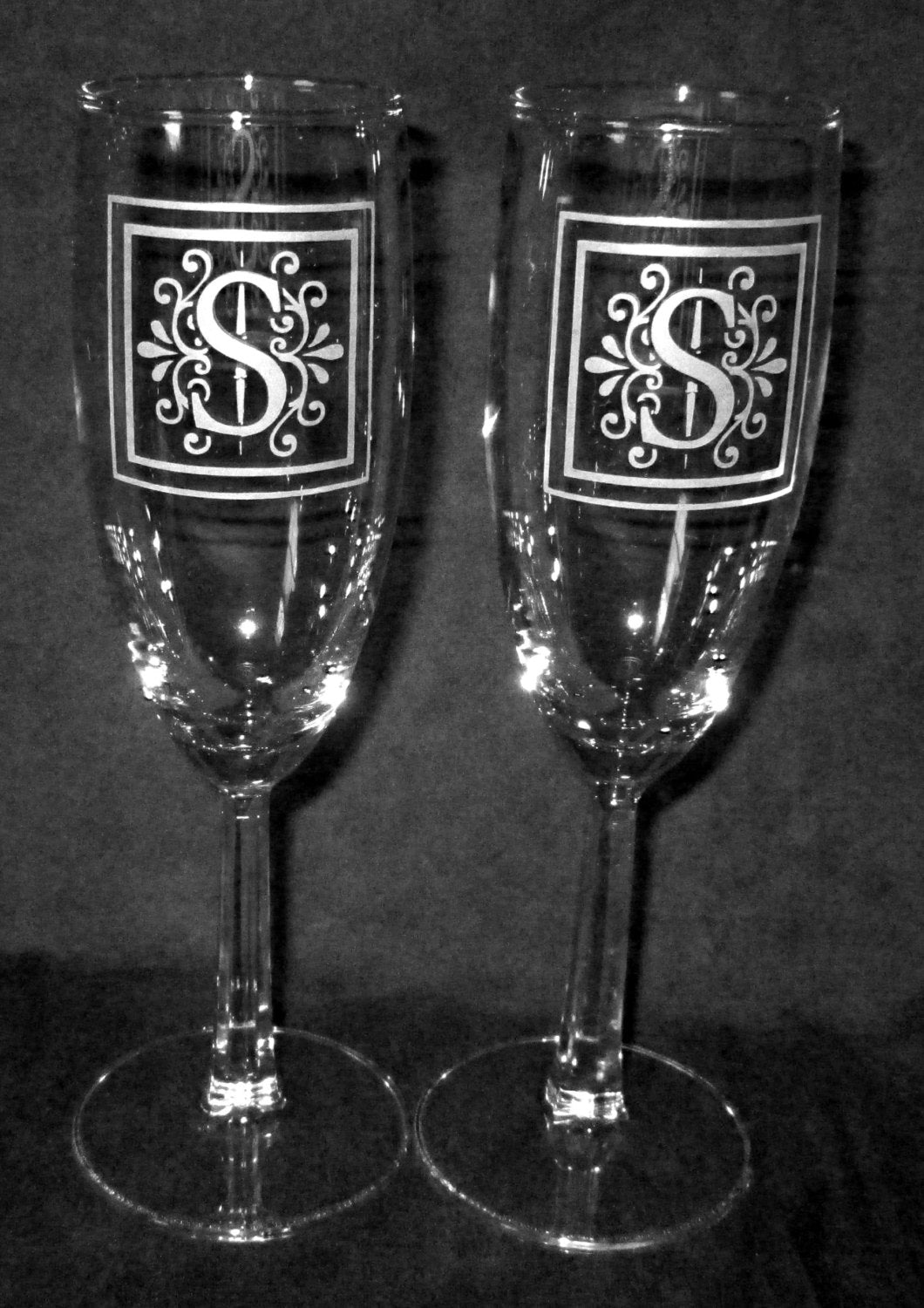 Wedding Champagne Flutes, Scrolled Monogram, Personalized, Pair