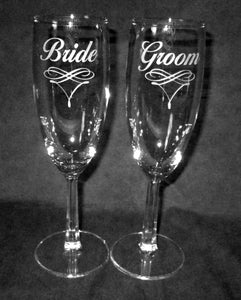 Wedding Champagne Flutes, Bride Groom Scroll Design, Personalized, Pair