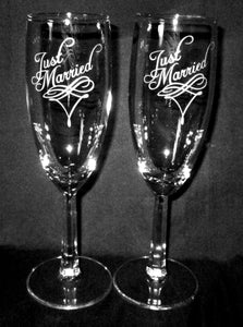 Wedding Champagne Flutes, Just Married, Personalized, Pair