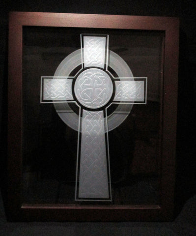 "Sand Carved Celtic Cross Etched Glass Decorative Frame, 8""x10"""