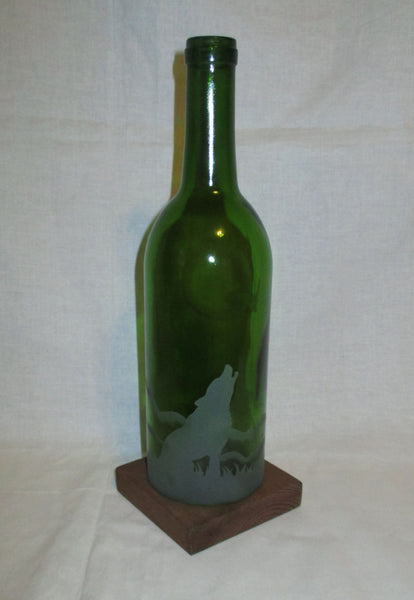 Recycled Wine Bottle Candle Shade, Etched Howling Wolf and Moon