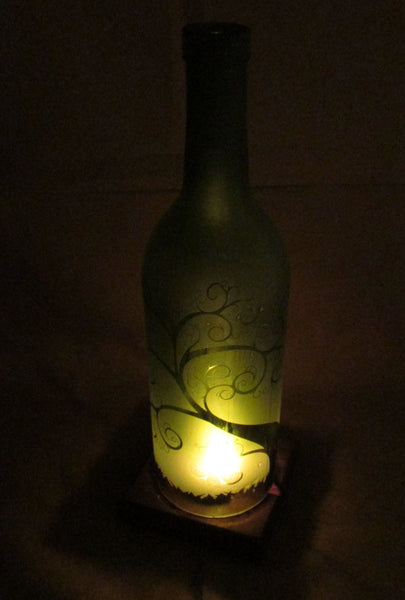 Recycled Wine Bottle Candle Shade, Etched Curly Tree Design