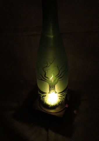 Recycled Wine Bottle Candle Shade, Etched Tree of  Life