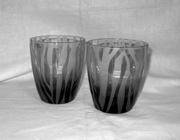 Zebra Stripe Etched Old Fashioned Glasses, Pair