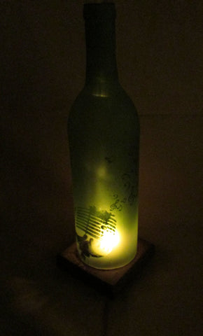 Recycled Wine Bottle Candle Shade, Etched Microphone and Musical Notes