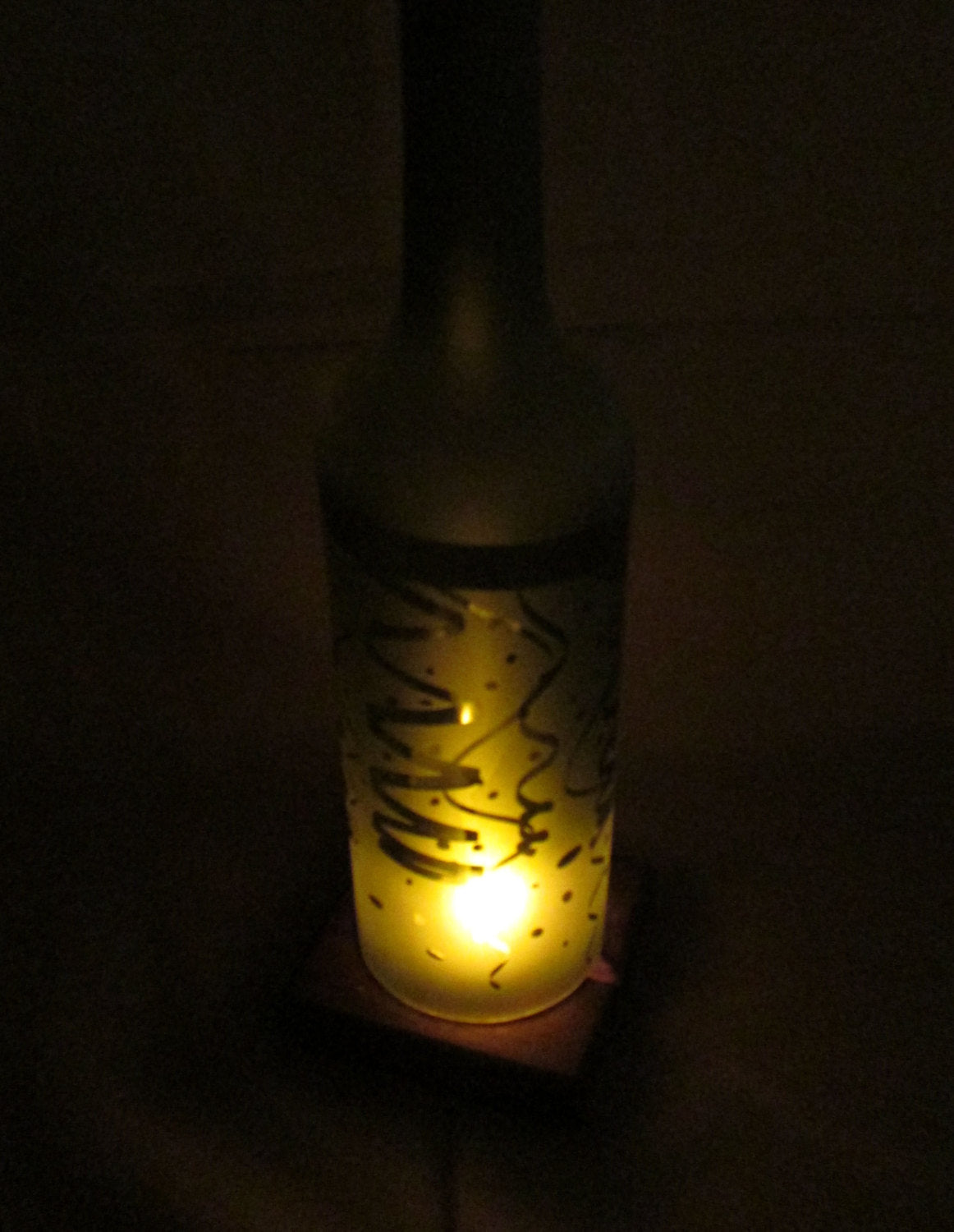 Recycled Wine Bottle Candle Shade, Etched Ribbon and Confetti