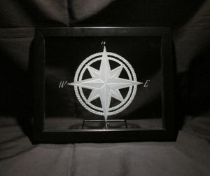 "Compass Rose and Rope, Sand Carved Glass Decorative Frame, 8""x10"""
