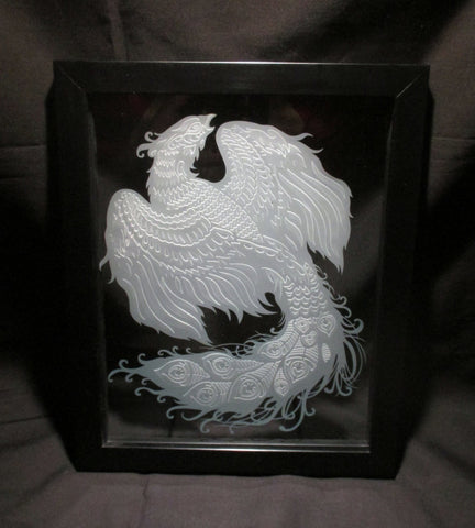 "Peacock Phoenix Sand Carved Glass Decorative Frame, 8""x10"""