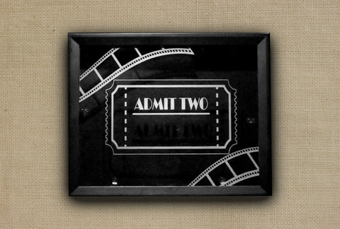 "Personalized Tickets Shadow Box, 11"" x 14"" Etched Glass Movies Ticket Collection"