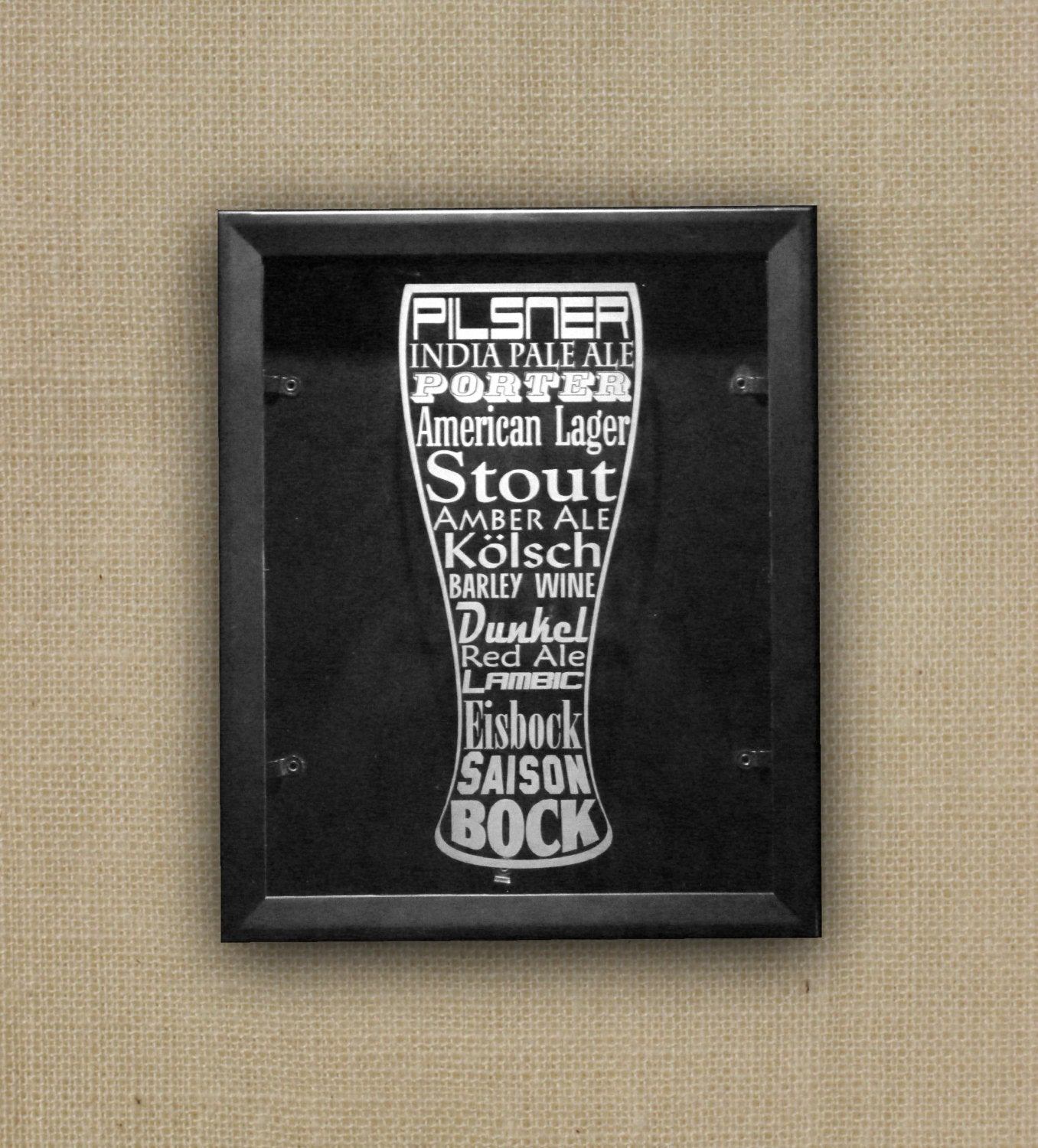 "Beer Cap Shadow Box, 11"" x 14"",  Etched Glass Pilsner Word Art"