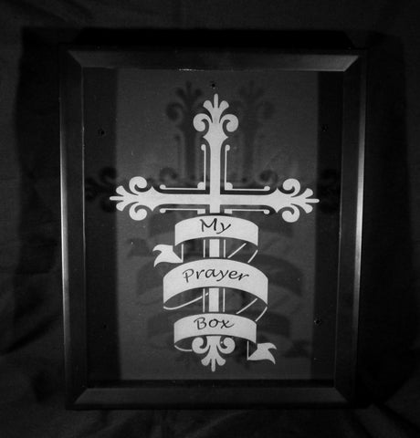 "Prayer Shadow Box, Etched Glass, 8""x10"""