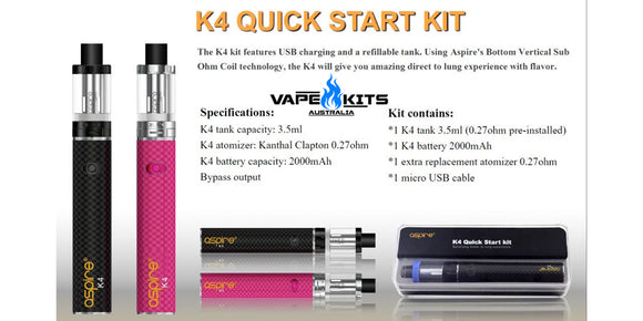 Aspire K4 Quick Start Kit, Vape Australia, Vape Kits Australia, Vape Starter Kit, Sunshine coast QLD Australia, vape shop australia