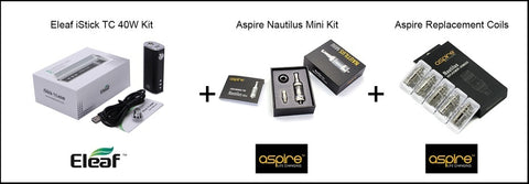 Aspire Nautilus Mini 2ml / Eleaf iStick 40W Premium Vapor Kit, vape kits australia, vape australia, sunshine coast qld