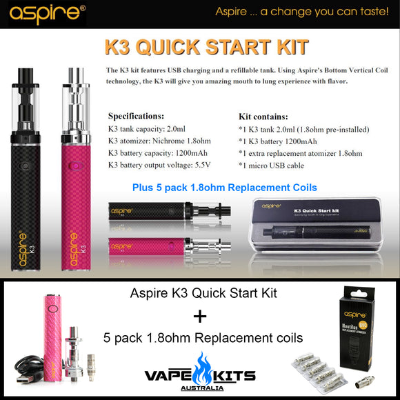 Aspire K3 Quick Start Kit - Complete Starter Vape Kit, vape starter kit, vape kits australia, sunshine coast qld
