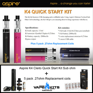 Aspire Cleito Quick Start Kit - Complete Sub ohm Vape Kit, vape starter kit, vape kits australia, sunshine coast qld