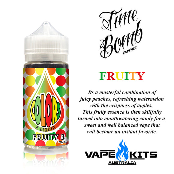 fruity colors by time bomb vapors, ejuice, vape juice, vape kits australia, sunshine coast qld