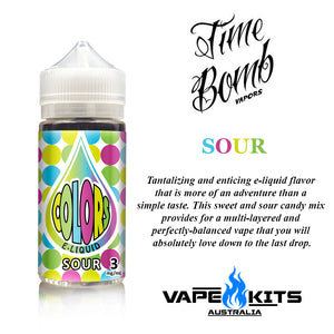 Sour colors by time bomb vapors, ejuice, vape juice, vape kits australia, sunshine coast qld