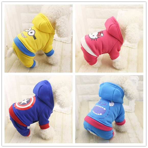 Cartoon Cat & Dog Clothing With Hoodie -