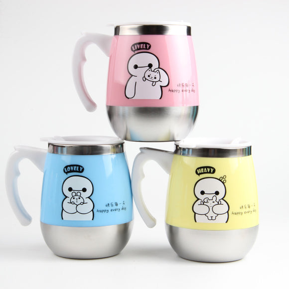 Cartoon Stainless Steel Mug With Lid